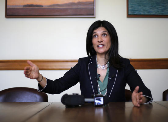 Speaker of the House Sara Gideon-D Freeport, speaks to reporters in her office, Wednesday, May 5, 2018, at the State House in Augusta, Maine. Lawmakers returned the State House to address gubernatorial vetoes on bills including commercial pot sales. (AP Photo/Robert F. Bukaty)